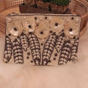 Beautiful beaded Shells Pearl Wedding Bride Clutch